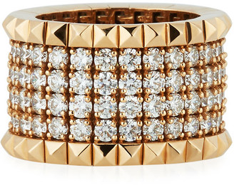 Roberto Coin 18k Rose Gold Diamond & Stud Ring, Size 6.5