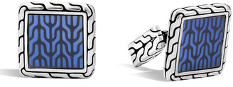 John Hardy Blue Enamel Square Cuff Links