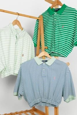 Urban Renewal Vintage Remade From Vintage Green Striped Branded Polo Shirt - Green M/L at Urban Outfitters