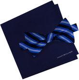 Tommy Hilfiger Men's Tri-Stripe Bow Tie & Solid Pocket Square Set