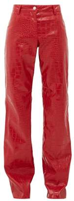 MSGM Crocodile-effect Faux-leather Trousers - Womens - Red
