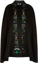 Vivetta Black Floral Embroidered Alloro Cape