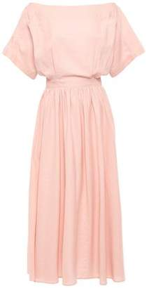 Tome Off-the-shoulder Cutout Cotton And Linen-blend Midi Dress
