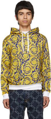 Versace Blue and Gold Barocco Hoodie