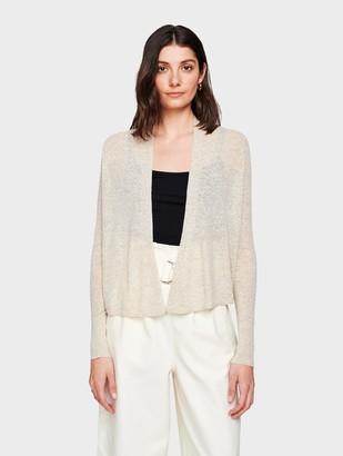 White + Warren Linen Cropped Swing Cardigan