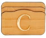 Chloé The C Logo Crocodile-embossed Leather Cardholder - Womens - Beige