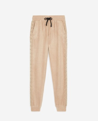 The Kooples Camel-coloured joggers with lace at the side