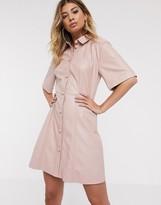 Asos Design DESIGN leather look mini button through shirt dress