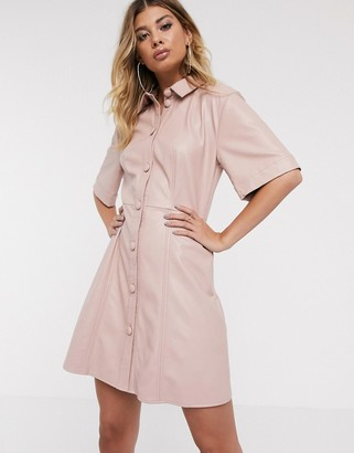 Asos Design DESIGN leather look mini button through shirt dress-Pink