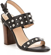 GUESS Cheree2 Leather Studded Banded Slingback Stacked Block Heel Sandals