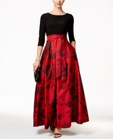 Jessica Howard Floral-Print Belted Ball Gown