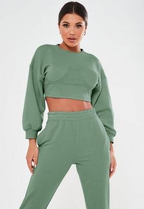 Missguided Petite Green Corset Sweatshirt