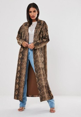 Missguided Brown Snake Print Faux Suede Trench Coat