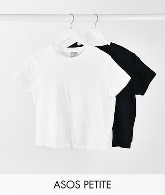 ASOS DESIGN Petite ultimate organic cotton t-shirt with crew neck 2 pack SAVE