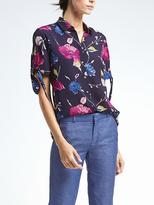 Banana Republic Easy Care Dillon-Fit Floral Puff-Sleeve Shirt