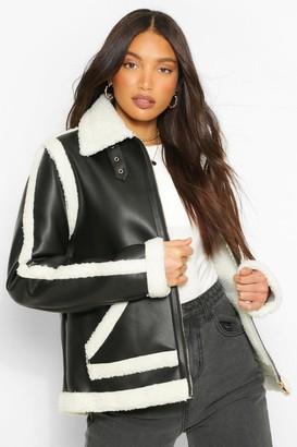 boohoo Tall Faux Leather Aviator Jacket