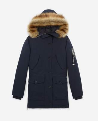 The Kooples Long navy blue nylon parka with hood