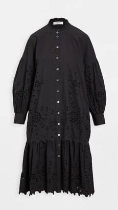 Sea Fern Eyelet Puff Sleeve Shirt Dress