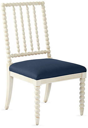One Kings Lane Barton Spindle Side Chair - Ivory/Navy Linen
