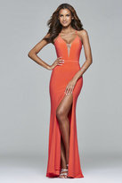Faviana 7977 Long jersey v-neck with illusion and adjustable lace-up back