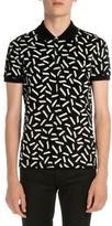 Saint Laurent Dash-Print Short-Sleeve Polo Shirt, Black/White