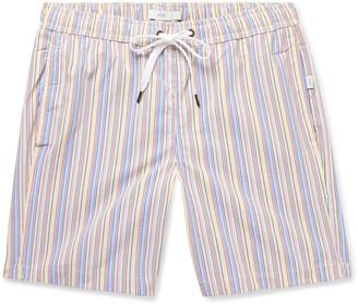 Onia Charles Long-Length Striped Seersucker Swim Shorts