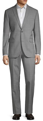 Saks Fifth Avenue Trim-Fit Windowpane Wool Suit
