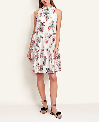 Ann Taylor Petite Paisley Floral Ruffle Shift Dress