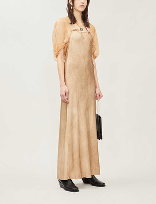 Phaedo Puffed-sleeve silk and woven maxi dress