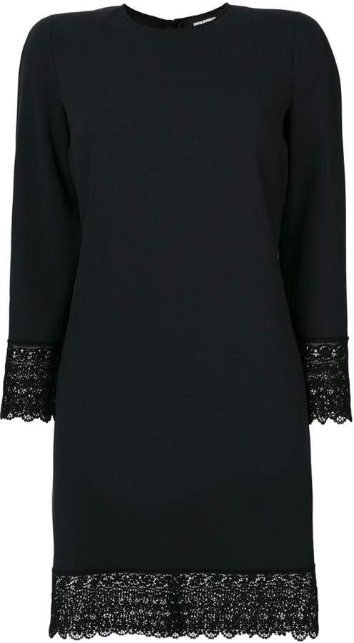 DSQUARED2 dress with scalloped lace trim