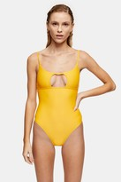 Topshop CONSIDERED Recycled Orange Cut Out Swimsuit