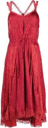 Koché Lace-Embellished Snake-Print Dress