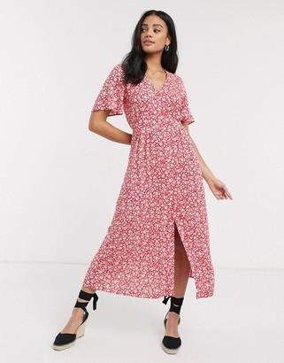 Miss Selfridge ditsy floral midi dress in red