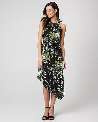 Le Château Floral Print Knit Asymmetrical Midi Dress