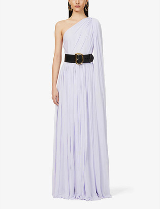 Alexander McQueen One-shoulder pleated stretch-woven maxi dress