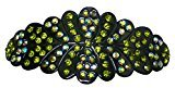 B.ella Oval Barrette scalloped Edges Decorated Rim to Rim with Sparkling Crystals YY86012-1olivine green