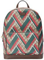 Gucci GG Chevron Canvas Backpack, Red/Green