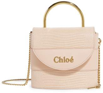 Chloé Small Leather Lizard-Embossed Aby Lock Bag