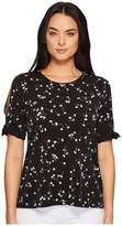CeCe Simple Ditsy Mix Media Tie Sleeve Top Women's Clothing