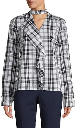 Derek Lam 10 Crosby Plaid Cotton Top