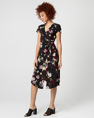 Le Château Floral Print Knit Wrap-Like Dress