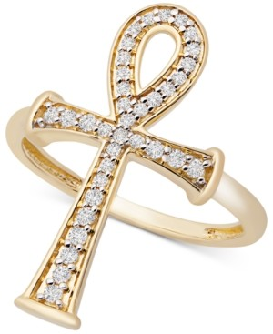 Wrapped Diamond Ankh Ring (1/4 ct. t.w.) in 14k Gold, Created for Macy's
