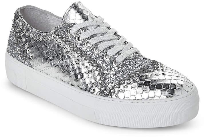Just Cavalli Silver Studded Metallic Platform Sneakers