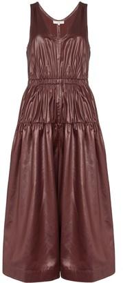 Tibi Liquid-Drape Gathered-Waist Midi Dress