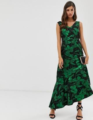 Closet London Closet assymetric frill dress-Green