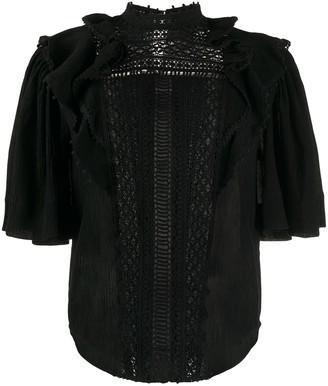 Isabel Marant Lace-Insert Short-Sleeve Blouse