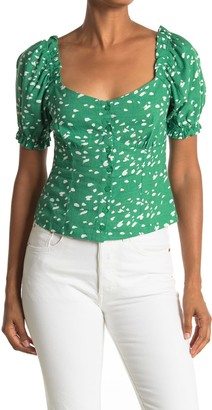 Lush Printed Button Square Neck Top