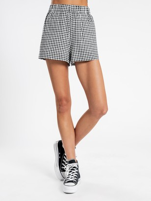Beyond Her Lila Gingham Shorts in Black & White