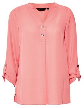 Dorothy Perkins Womens Pink Button Long Sleeve Top, Pink
