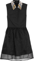 Markus Lupfer Jasmine appliquéd cotton and silk-organza mini dress